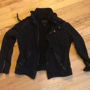 Black cotton bomber style jacket